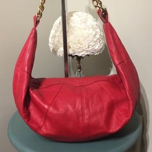 Vintage red leather large slouch bag purse Neto